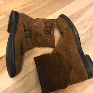 J. Crew Shoes - J.Crew Suede Moto Boots Brown